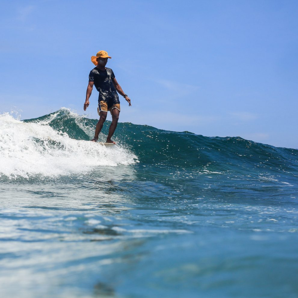 One of our surf instructors showing us how it's done.