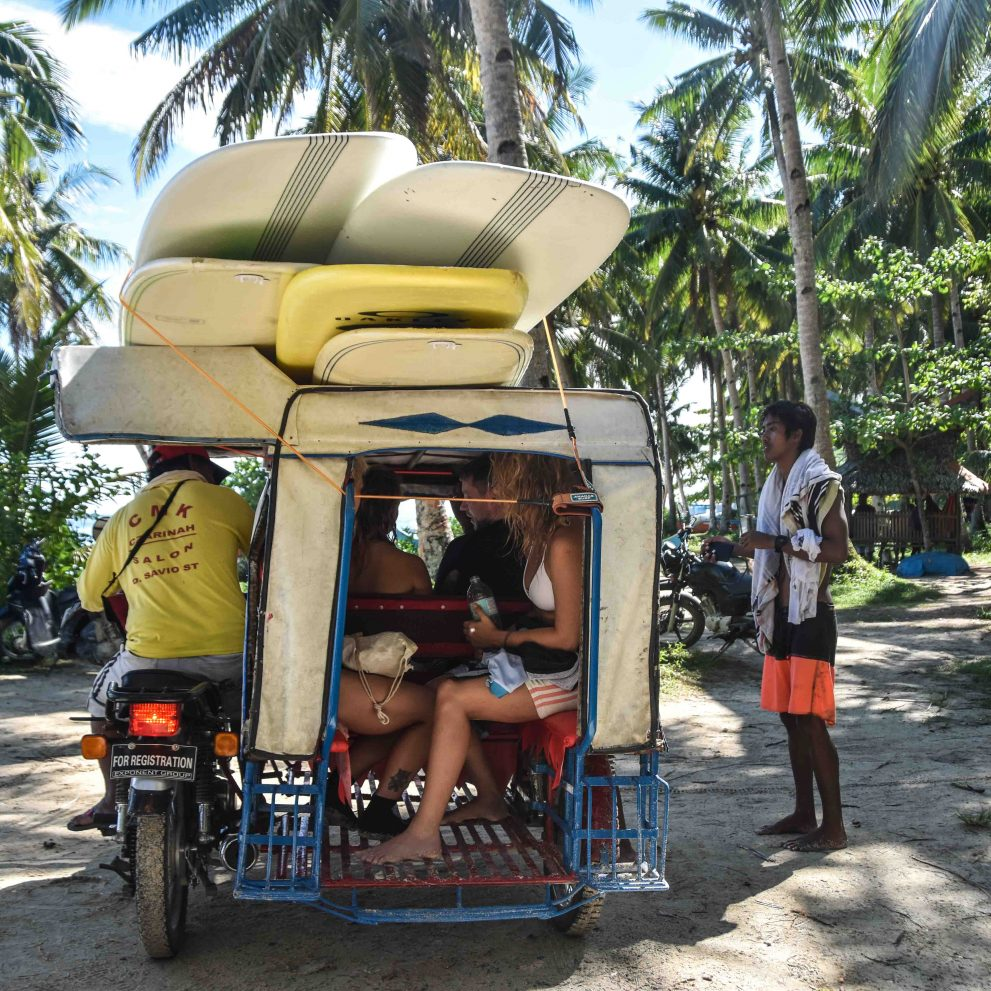 Habal-Habal is the local version of a Tuk-Tuk, the perfect vehicle to take us surfing.
