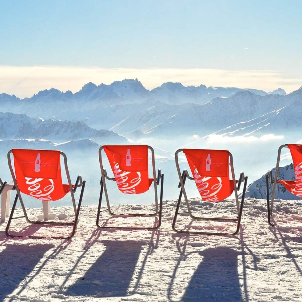Welcoming sun beds on one of the many tops of Les 3 Vallées