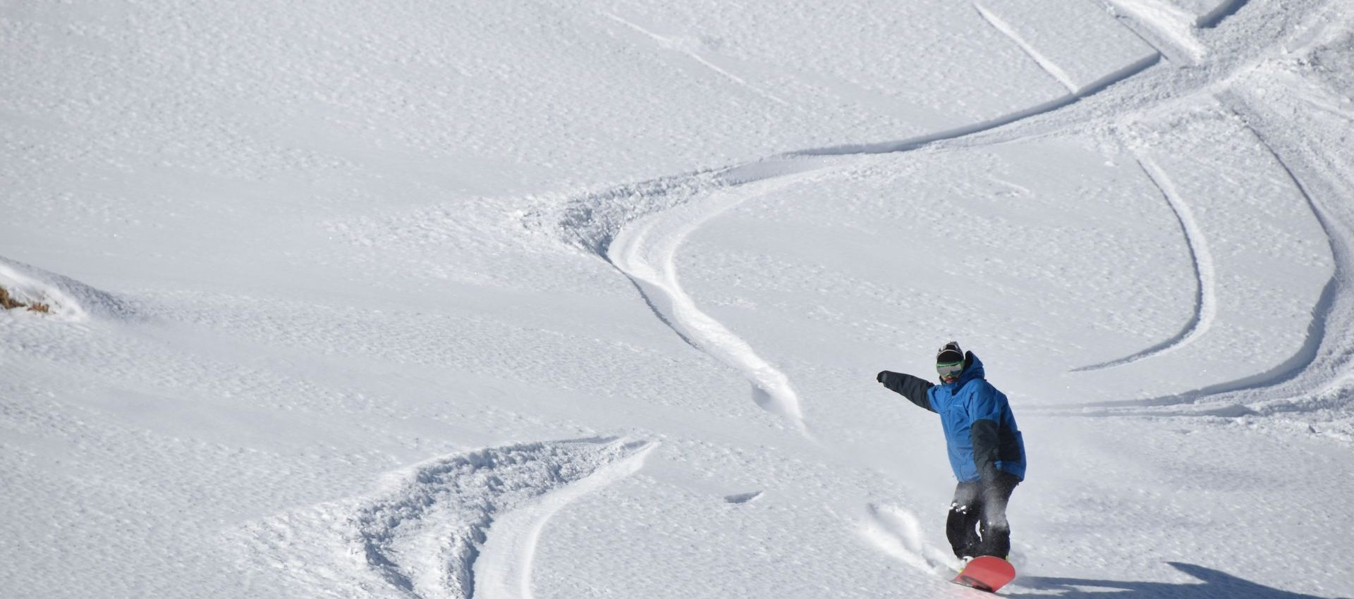 Enjoying the virgin snow, carving down is just like drawing lines on a blank canvas.