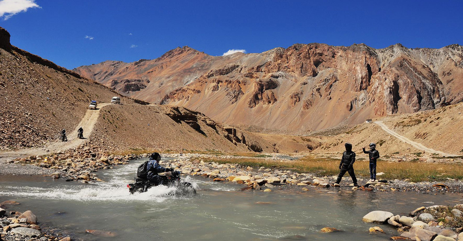One of the toughest river crossings of the trip, but it's also a lot of fun.