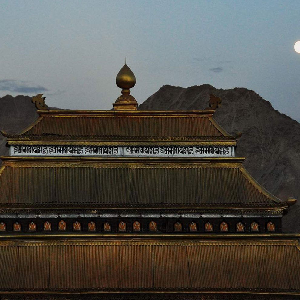 Moonrise over the city of Leh.