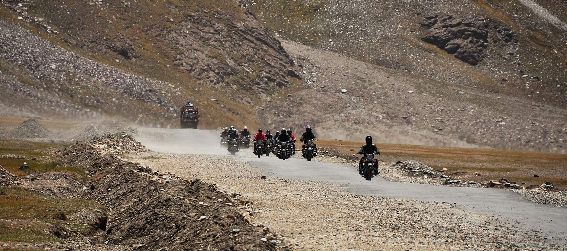 The BTS biker crew riding through the desert of Shyok Valley.