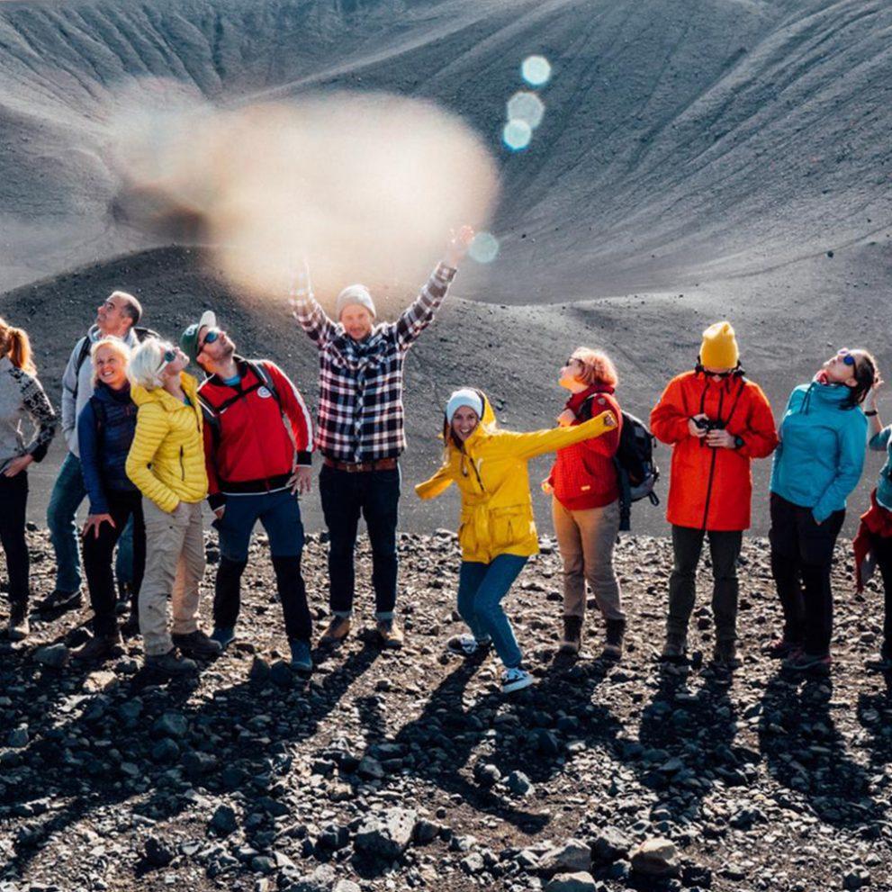 The BTS crew enjoying the sunshine and the amazing landscape of Iceland.