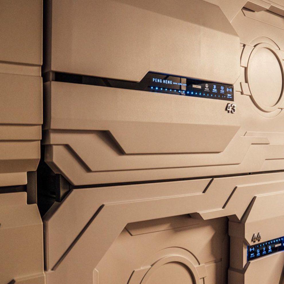 The futuristic sci-fi capsule hotel on our last night in Akureyri