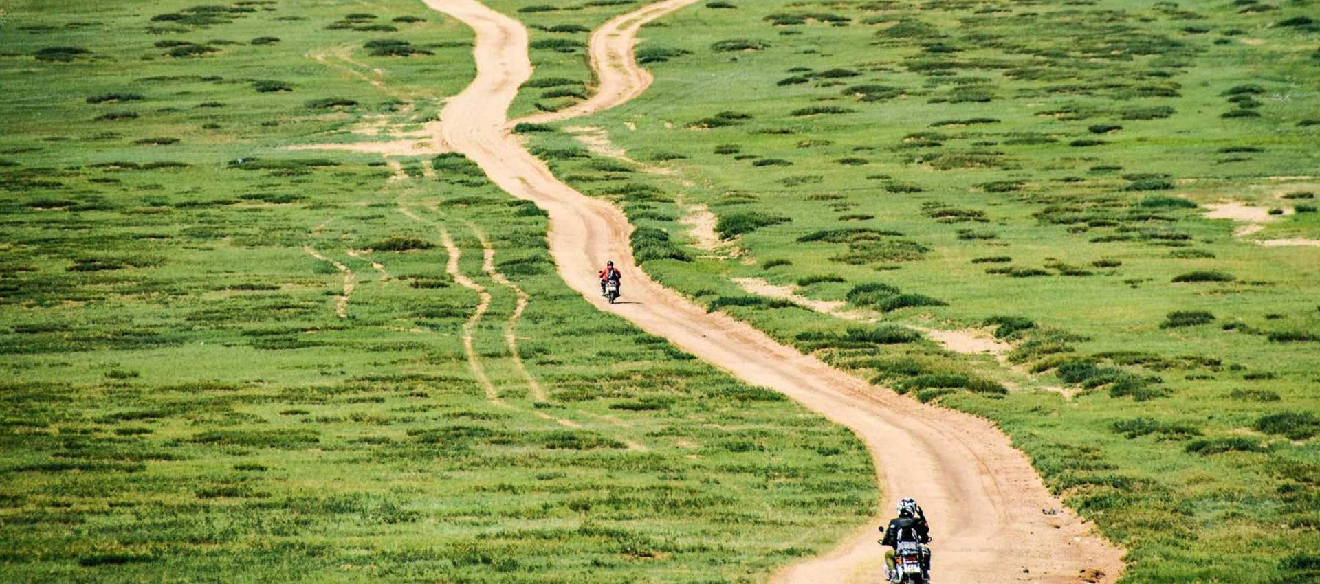 Probably the best off-road terrain in the world is in Mongolia, the vast Steppe has endless options to ride on.