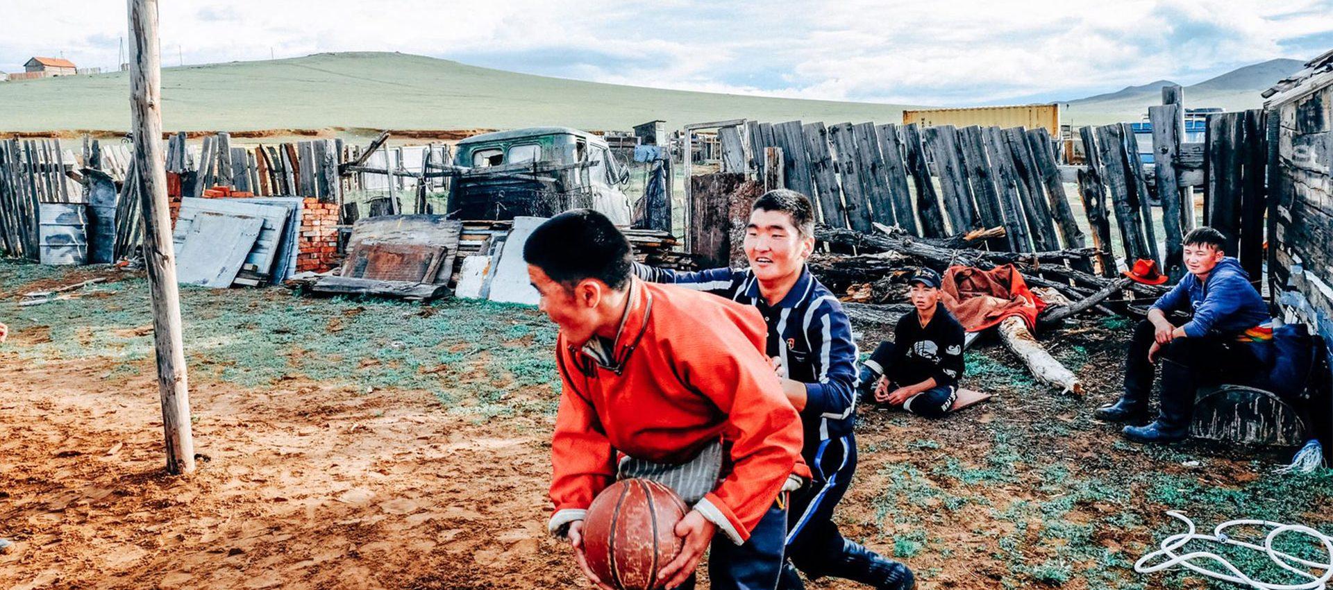 Nomadic style basketball game.