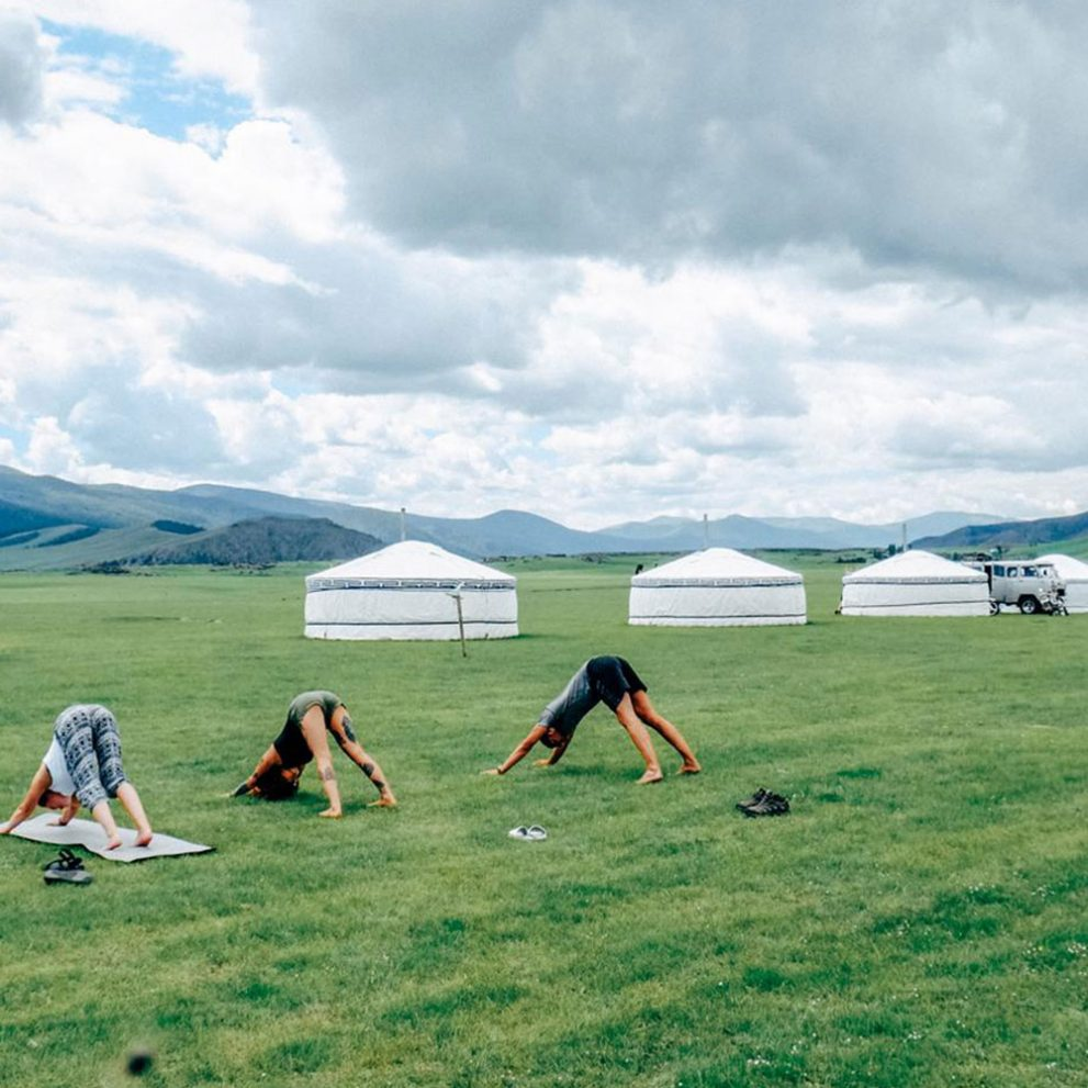 Morning yoga in the most beautiful scenery.