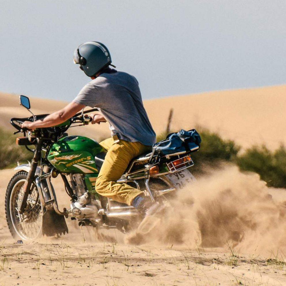 Drifting in the perfect sand dunes of the Little Gobi Desert