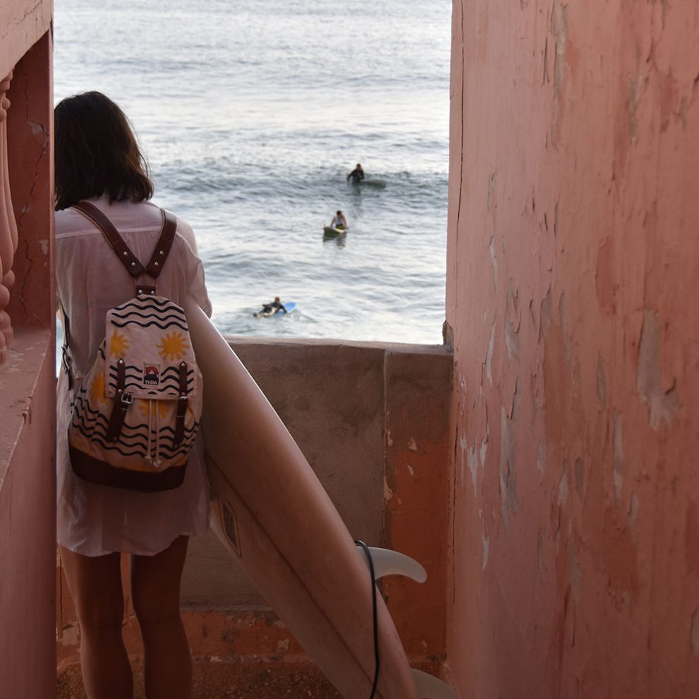 You just have to walk down on the stairs of our surf villa, and you can directly go for a surf.