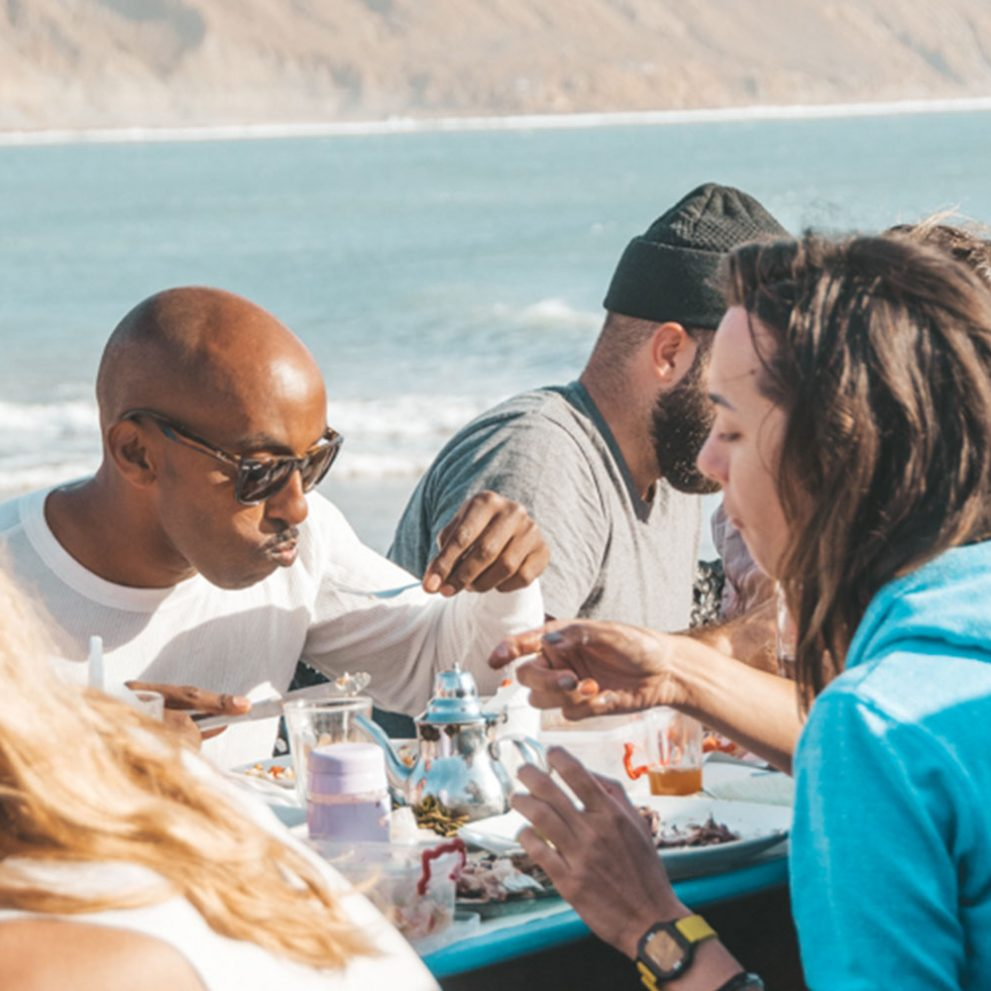 The best place for lunch is directly on the pier overlooking the surf.