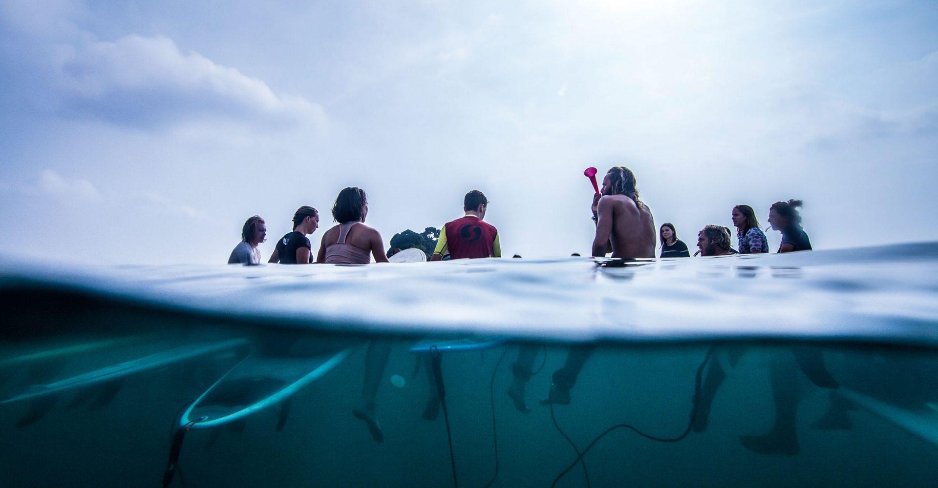 BTS Sri Lanka surf camp group paddle out